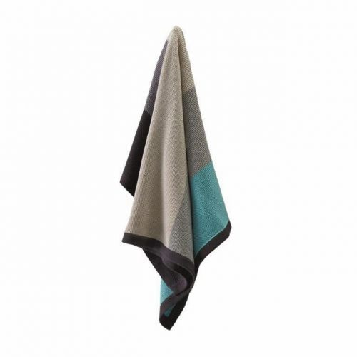 Aqua & Grey Stripe Cotton Blanket