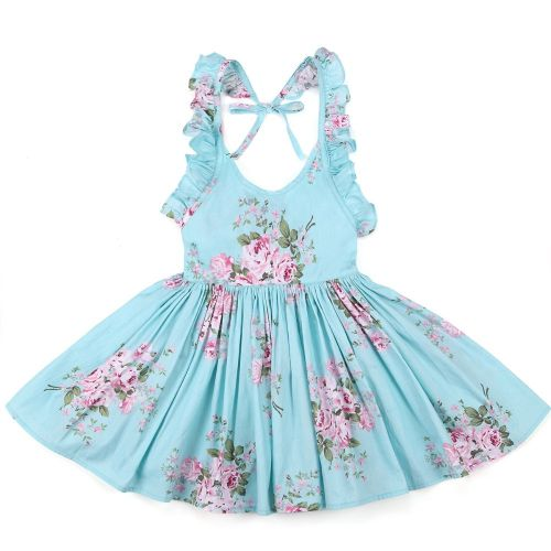 Blue Posy Rose Sun Dress