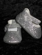 HALF PRICE -Silver Glitter dolly shoes