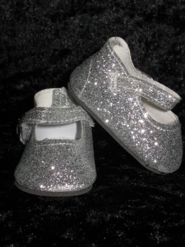 Silver Glitter dolly shoes - CHRISTMAS SALE ITEM NOW 50% OFF