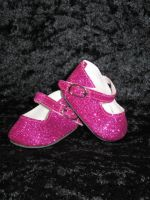HALF PRICE SALE -Hot pink Glitter Dolly Shoes