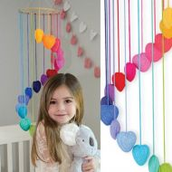 OB Designs Crochet Heart Mobile - Rainbow